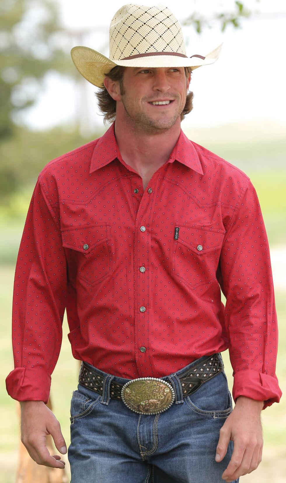 Cinch Men's Red Modern Fit Plain Weave Western Long Sleeve Shirt , Red, hi-res