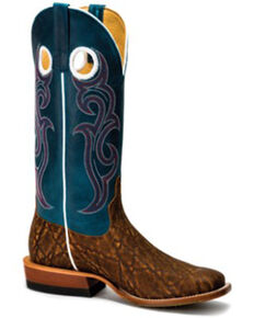 HorsePower Men's Sugared Blue Jeans Western Boots - Wide Square Toe, Tan, hi-res
