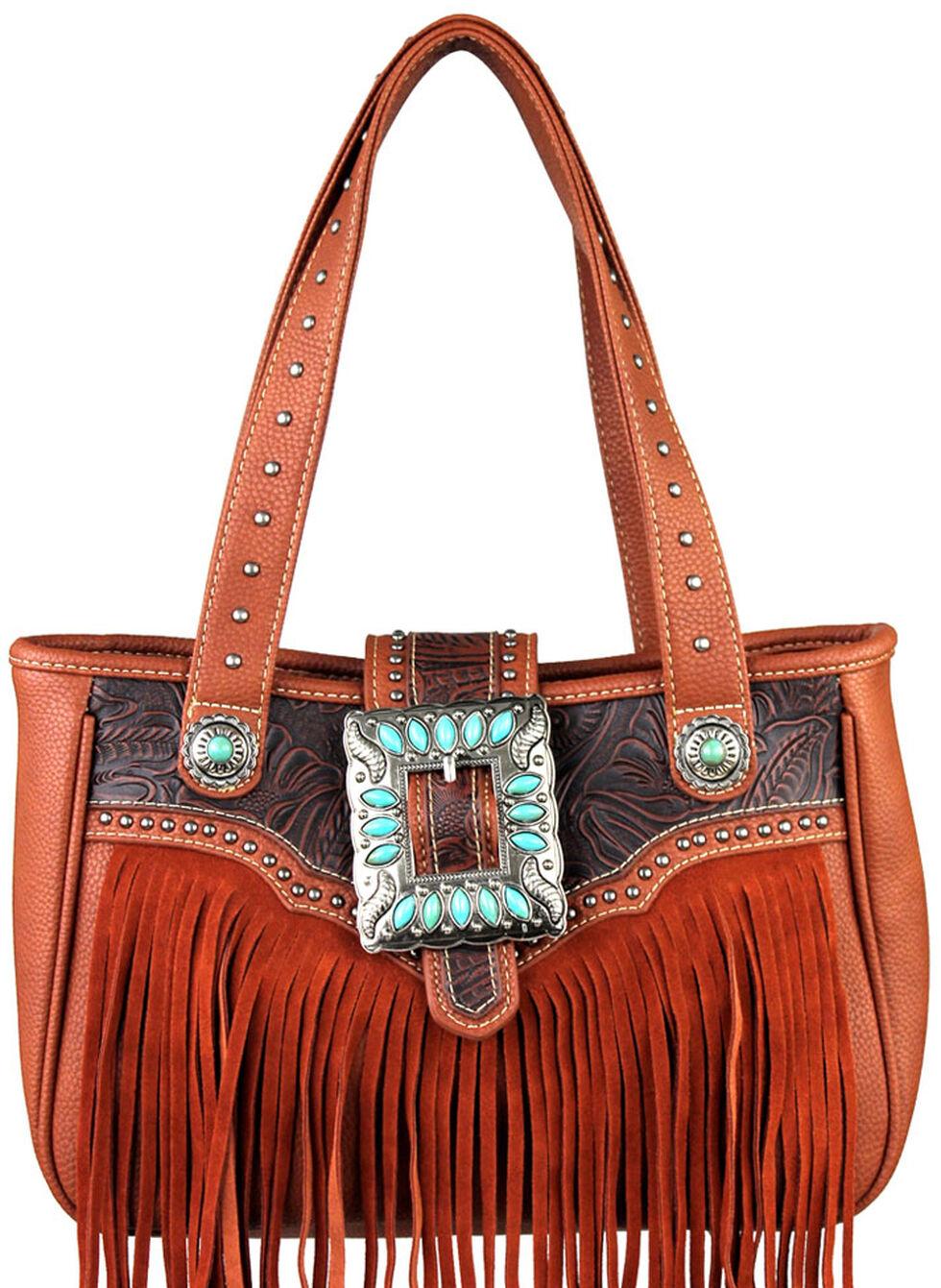 Montana West Trinity Ranch Belt Buckle Handbag with Fringe, , hi-res