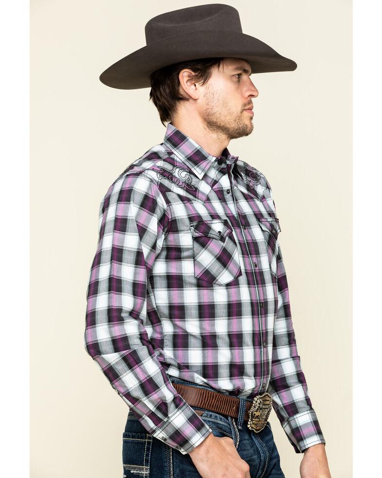 Rock 47 By Wrangler Men's Black Med Plaid Embroidered Long Sleeve Western Shirt , Black, hi-res
