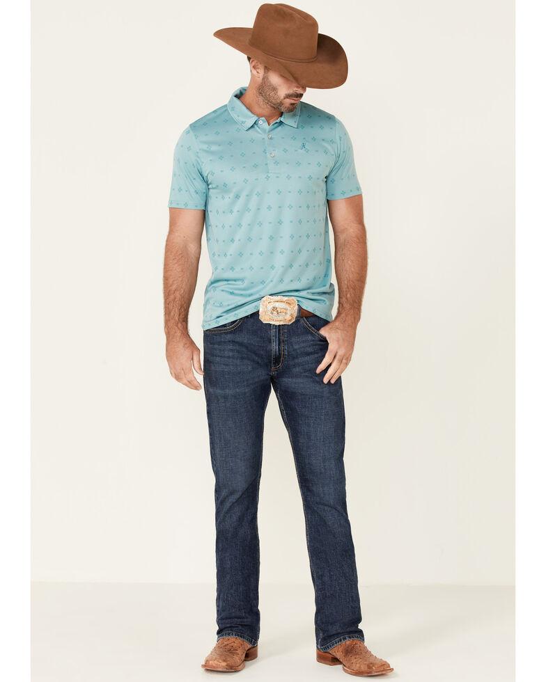 HOOey Men's Teal Aztec Geo Print The Weekender Short Sleeve Polo Shirt , Turquoise, hi-res