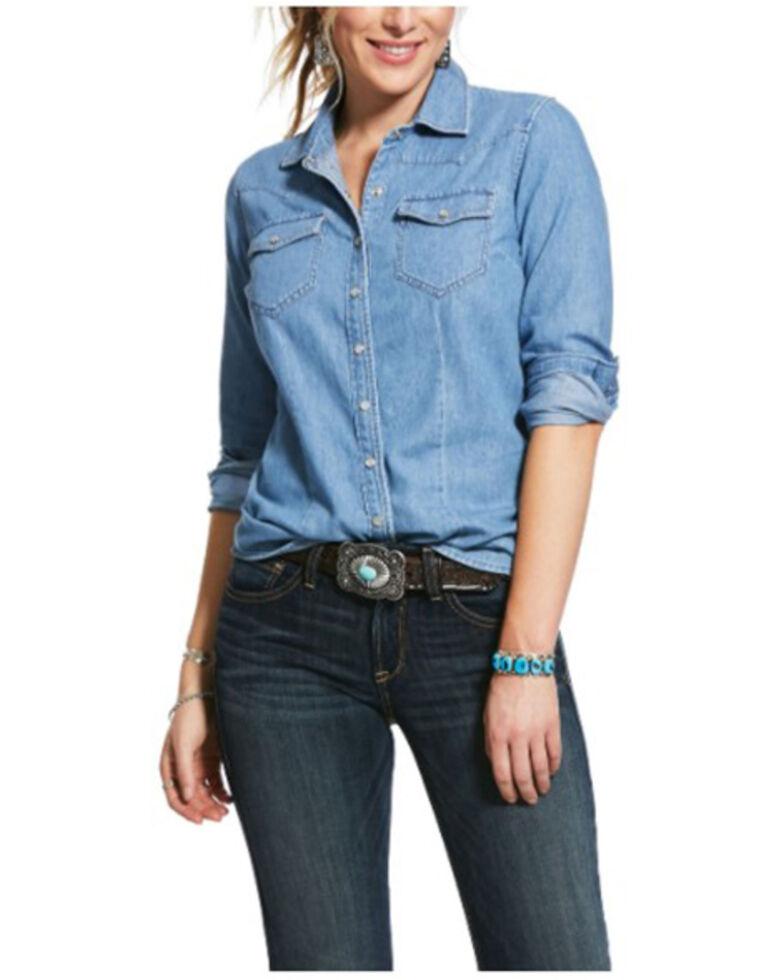 Ariat Women's Pale Indigo Ruffle Denim Long Sleeve Western Shirt , Blue, hi-res