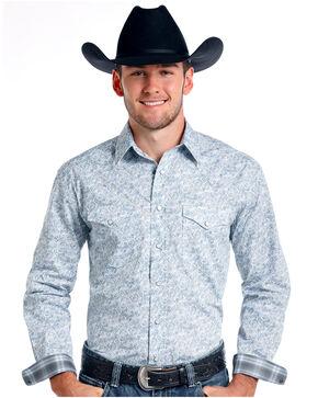 Rough Stock by Panhandle Men's Corsico Vintage Print Long Sleeve Western Shirt, Grey, hi-res