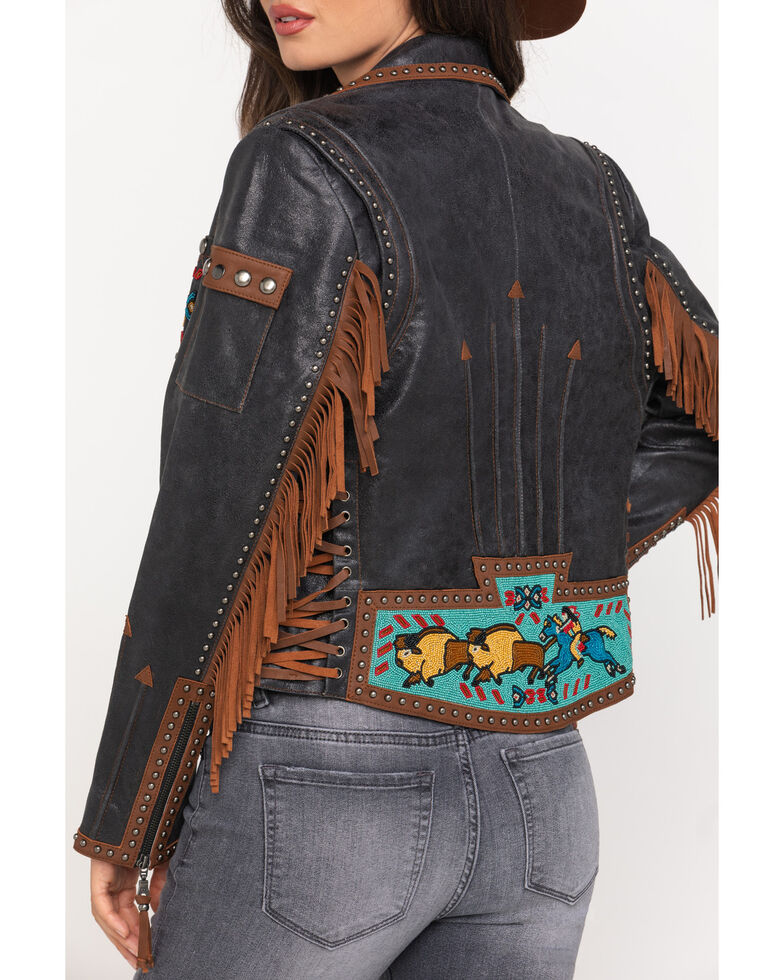Double D Ranch Women's Black Buffalo Chase Jacket, Black, hi-res