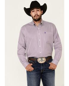 Cinch Men's Purple Tencel Stripe Long Sleeve Button-Down Western Shirt - Big, Purple, hi-res