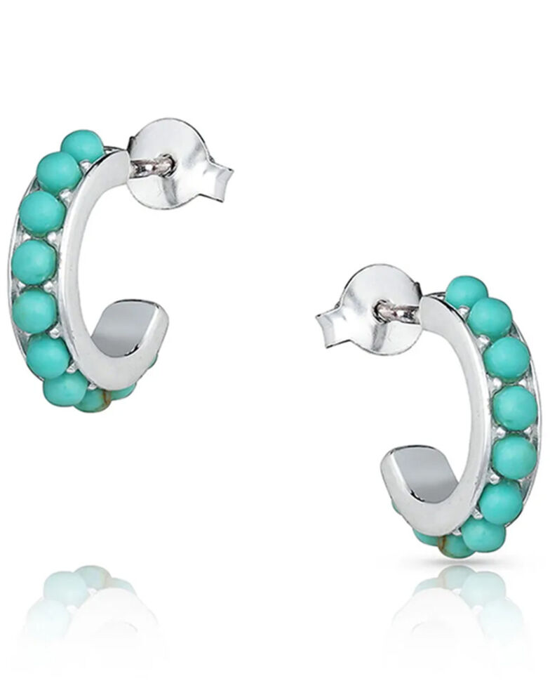 Montana Silversmiths Women's Studded In Turquoise Mini Hoop Earrings, Silver, hi-res