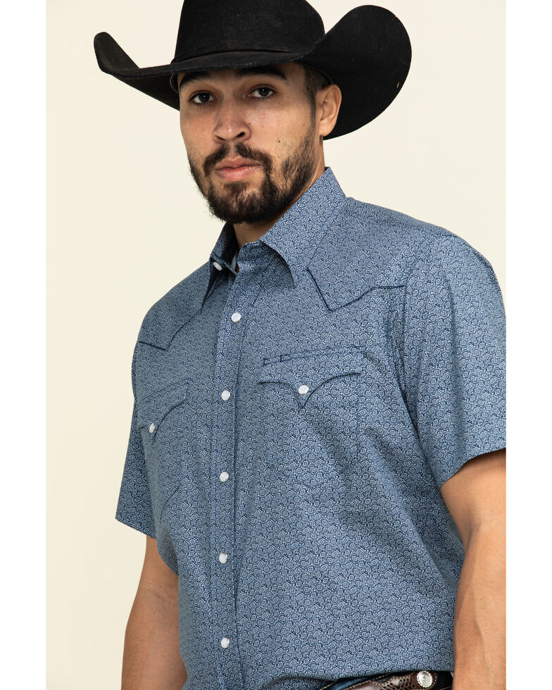 Roper Men's Blue Textured Aztec Geo Print Short Sleeve Western Shirt , Navy, hi-res