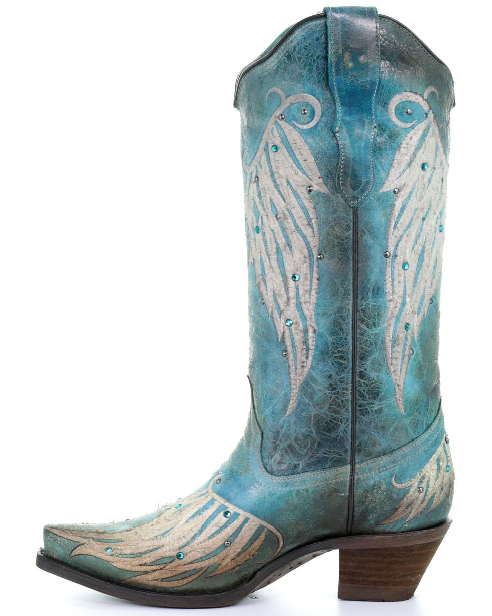 Corral Women's Wing Embroidery Western Boots - Snip Toe, Turquoise, hi-res
