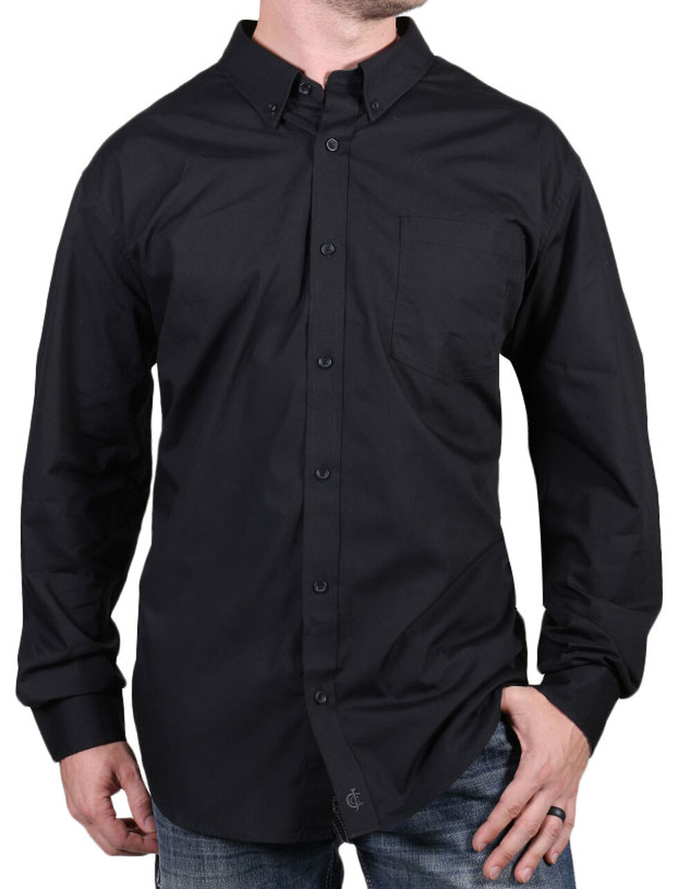 Cody James Core Men's Chute Black Long Sleeve Shirt, Black, hi-res