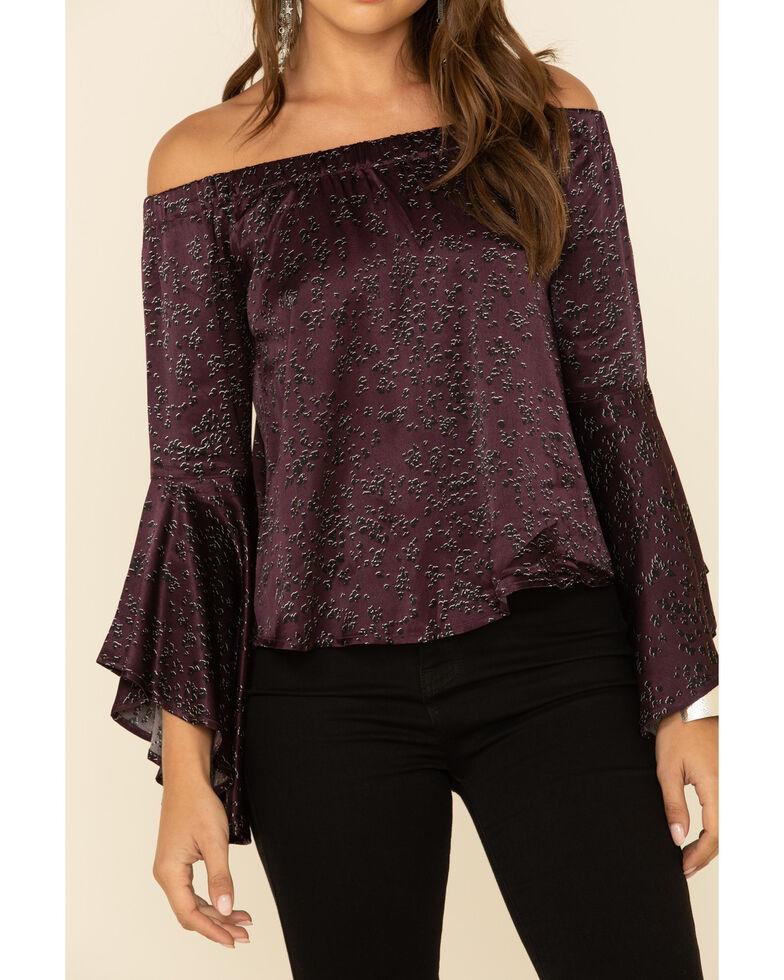 Shyanne Women's Purple Dot Print Off Shoulder Flare Woven Top , Grape, hi-res