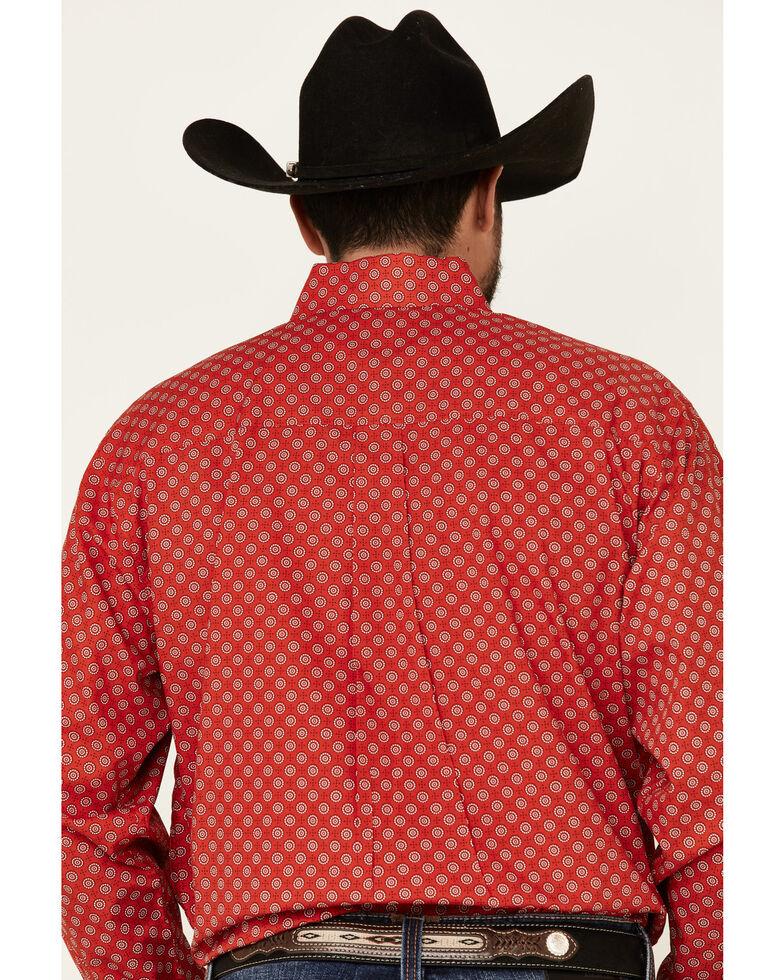 Cinch Men's Red Geo Print Long Sleeve Western Shirt , Red, hi-res