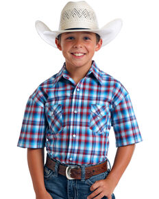 Rough Stock by Panhandle Boys' Freedom Ombre Plaid Short Sleeve Western Shirt , Blue, hi-res