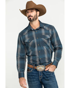 Pendleton Men's Blue Frontier Large Plaid Long Sleeve Western Shirt , Blue, hi-res