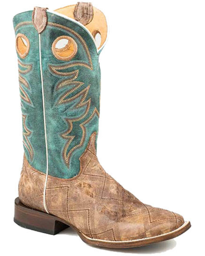 Roper Men's Garland Western Boots - Square Toe, Tan, hi-res