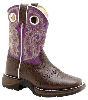 Durango Youth Girls' Purple Cowgirl Boots - Square Toe, Dark Brown, hi-res