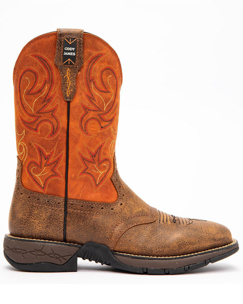 Cody James Men's Nano Lite Western Work Boots - Composite Toe, Orange, hi-res