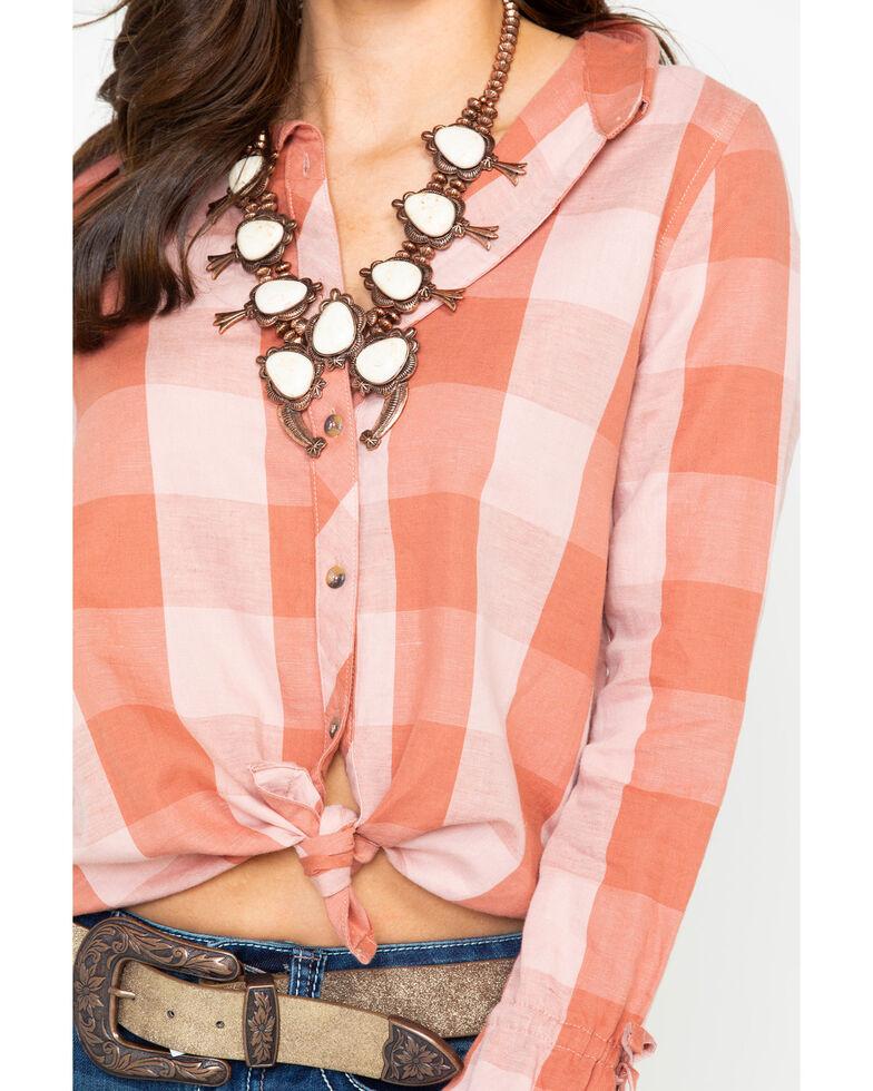 Shyanne Women's Blush Plaid Linen Tie Up Long Sleeve Western Shirt , Blush, hi-res