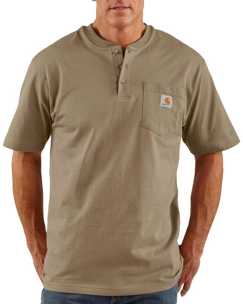 Carhartt Short Sleeve Henley Work Shirt - Big & Tall, Desert, hi-res