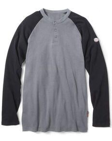Rasco Men's Flame Resistant Two Tone Henley Long Sleeve Work Shirt - Big , Black, hi-res