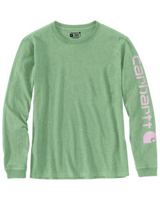 Carhartt Women's Heather Green Logo Long Sleeve Work Shirt - Plus, Heather Green, hi-res