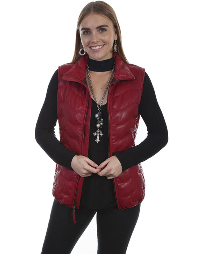 Leatherwear by Scully Women's Black Ribbed Vest , Red, hi-res
