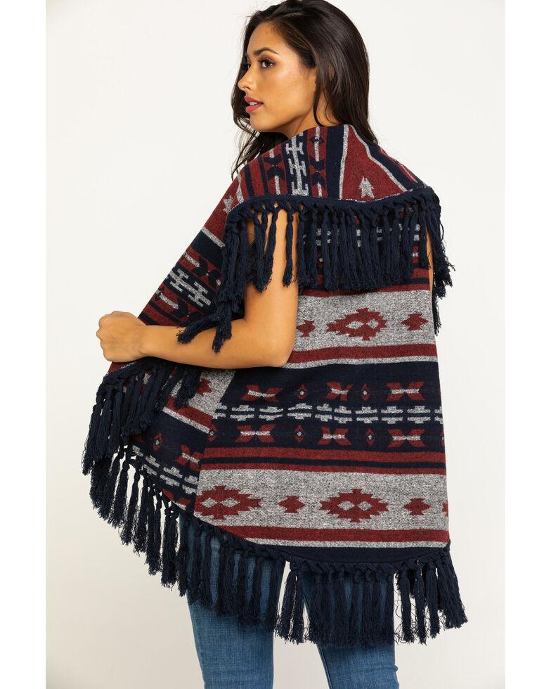 Cripple Creek Women's Open Front Navajo Blanket Fringe Vest, Navy, hi-res