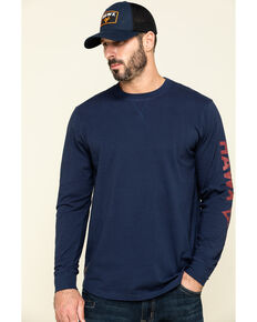 Hawx Men's Navy Sleeve Logo Long Sleeve Work T-Shirt - Tall , Navy, hi-res
