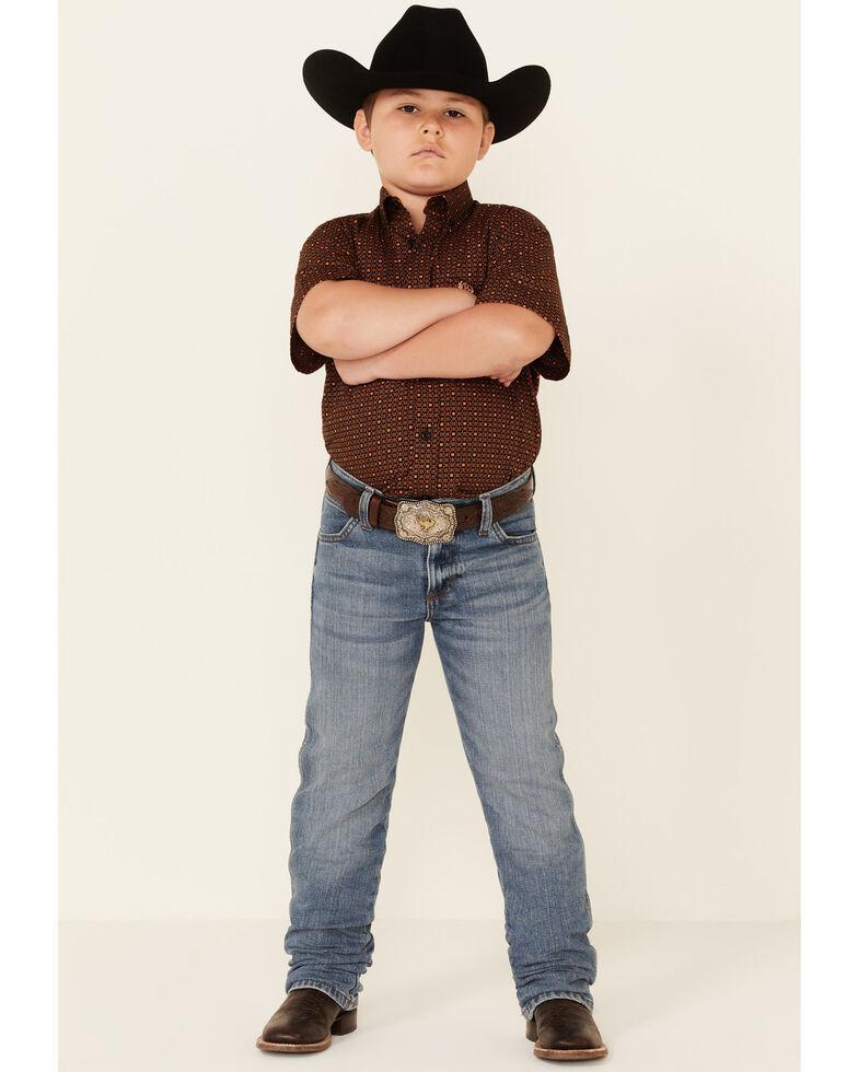 Panhandle Select Boys' Brown Geo Print Short Sleeve Button-Down Western Shirt , Brown, hi-res