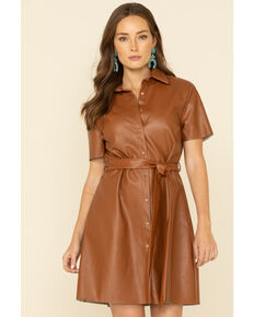 Molly Bracken Women's Faux Leather Shirt Dress , Camel, hi-res