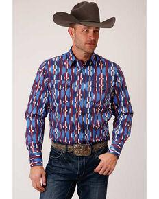 Roper Men's Blue Retro Aztec Striped Long Sleeve Western Shirt , Blue, hi-res