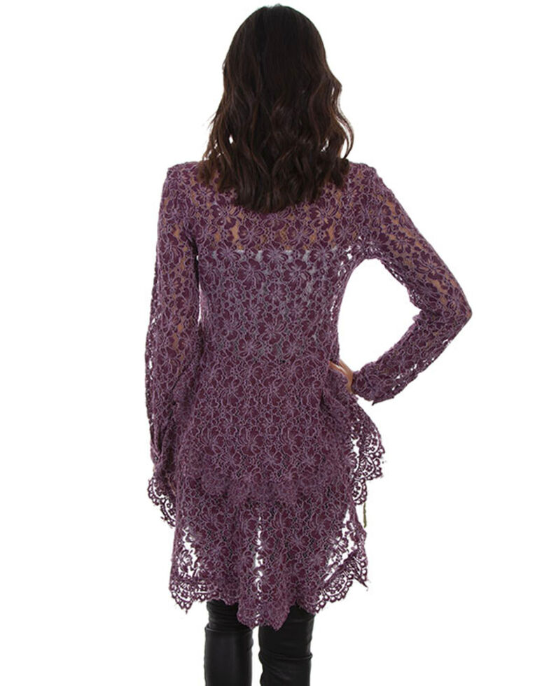 Honey Creek by Scully Women's Hi/Lo Lace Button Front Blouse , Purple, hi-res