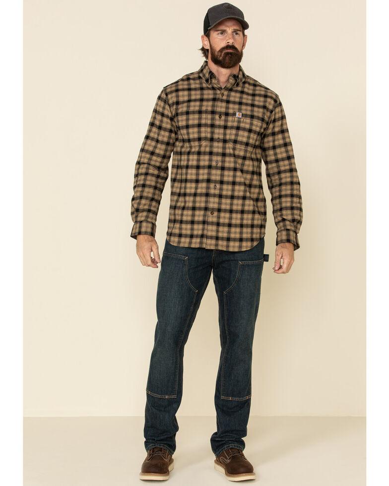 Carhartt Men's Dark Khaki Hamilton Plaid Long Sleeve Flannel Work Shirt , Beige/khaki, hi-res