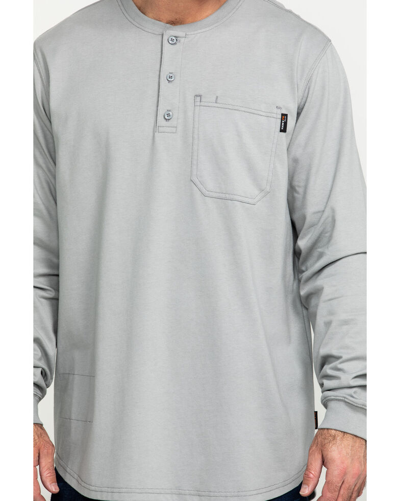 Hawx Men's FR Pocket Henley Long Sleeve Work Shirt - Tall , Silver, hi-res