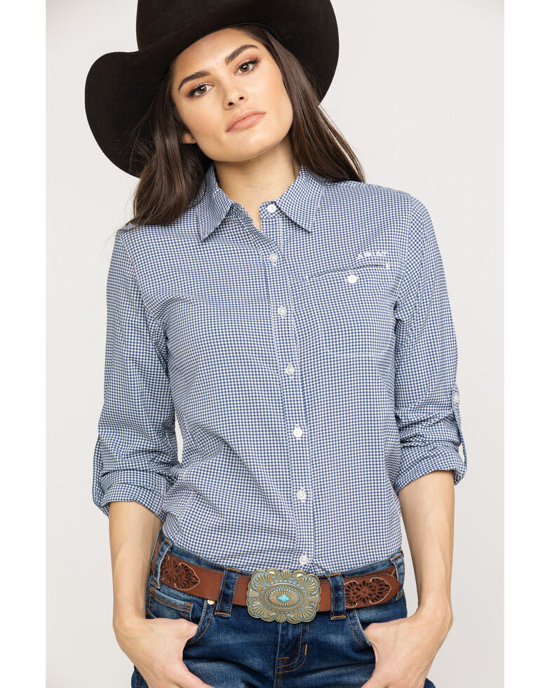 b1e7964a Zoomed Image Ariat Women's Indigo Fade Check VentTek II Long Sleeve Shirt,  Multi, hi-res