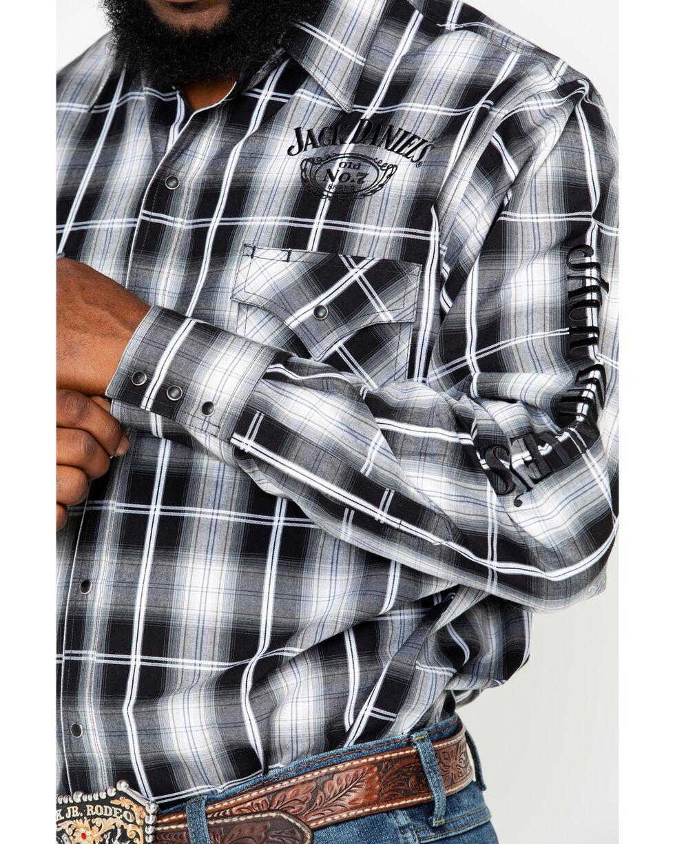 Jack Daniels Men's Textured Embroidered Plaid Long Sleeve Western Shirt  , Black/tan, hi-res