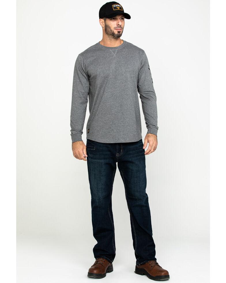 Hawx Men's Grey Logo Sleeve Long Sleeve Work T-Shirt - Tall , Heather Grey, hi-res