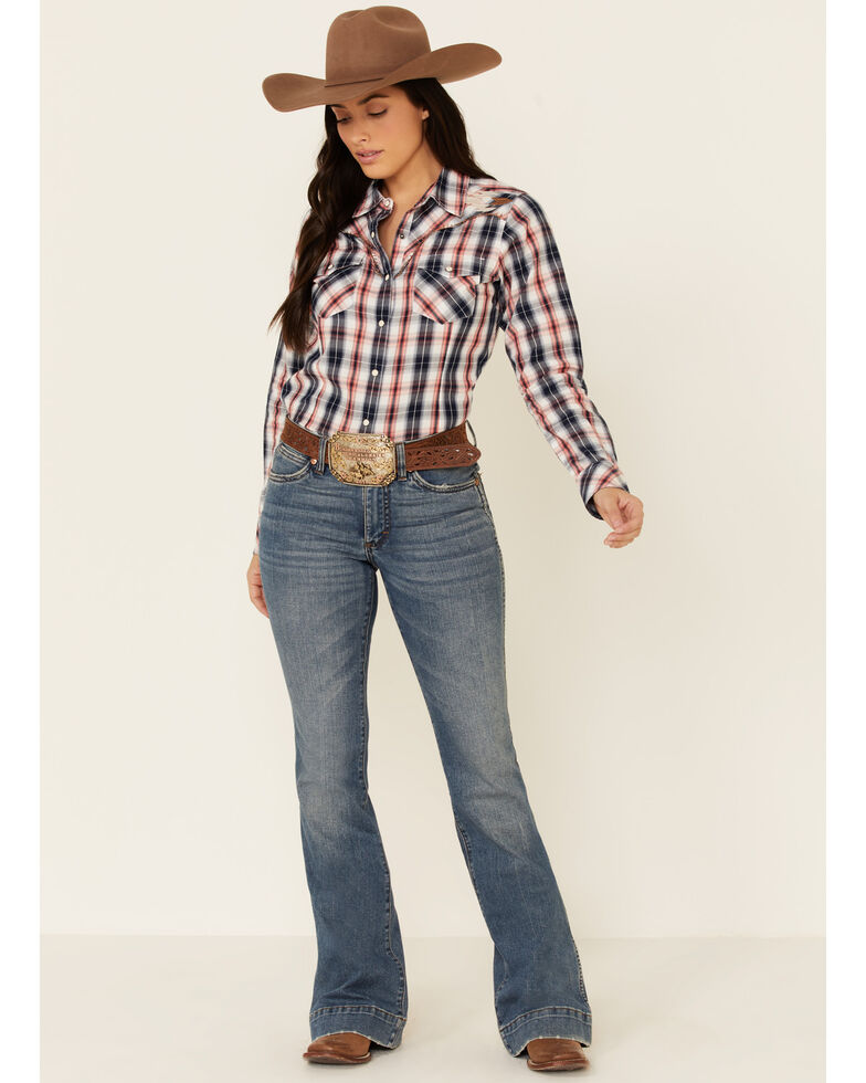 Ariat Women's R.E.A.L Dynamic Plaid Embroidered Long Sleeve Western Core Shirt , Navy, hi-res