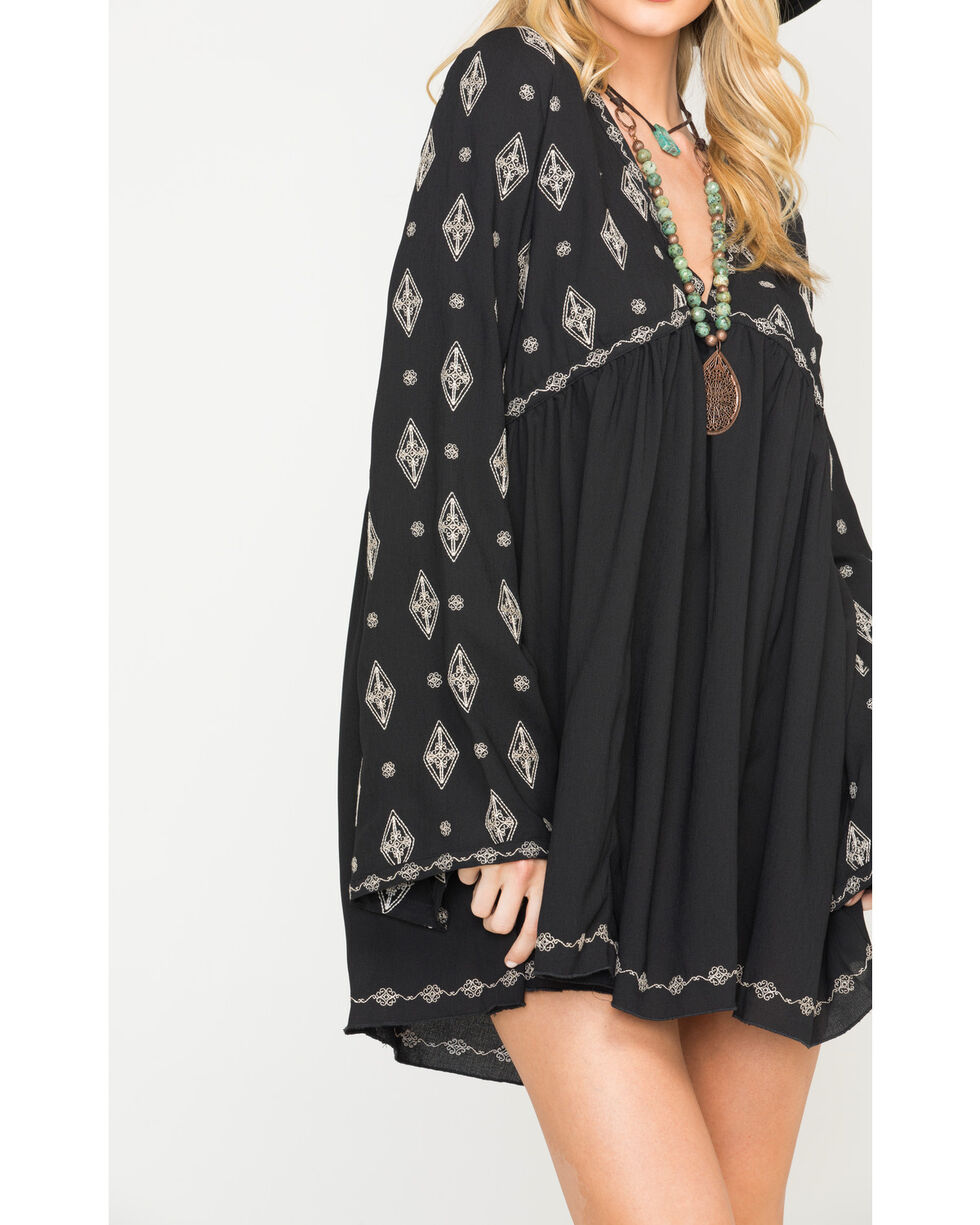 MI. OH. MI. Women's Flare Sleeve Embroidered Dress, Black, hi-res