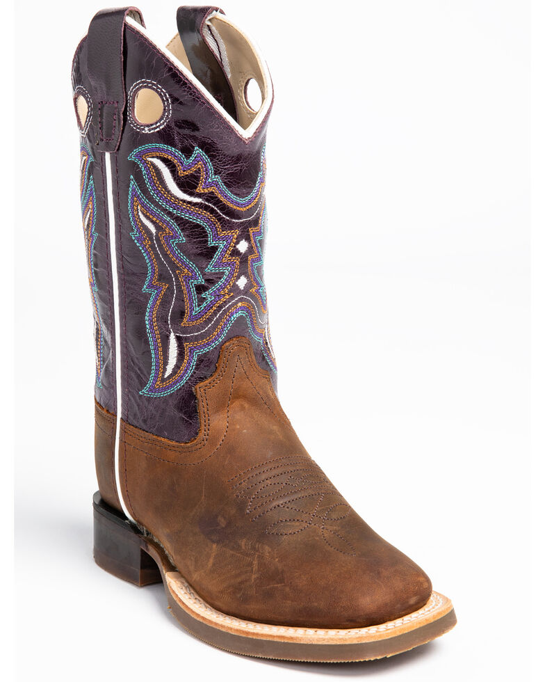 Shyanne Girls' Full-Grain Leather Western Boots - Square Toe, Brown, hi-res