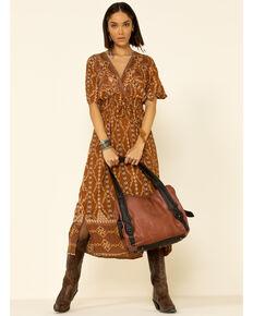 Angie Women's Rust Aztec Maxi Dress, Rust Copper, hi-res