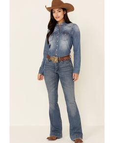 Shyanne Life Women's Medium Wash Denim Long Sleeve Snap Western Shirt , Medium Blue, hi-res