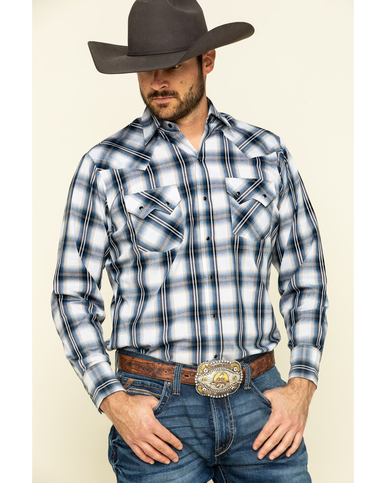 Ely Cattleman Men's Multi Large Plaid Long Sleeve Snap Western Shirt  , Navy, hi-res