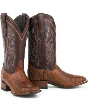 Stetson Men's Brandy Caiman Belly Western Boots - Square Toe , Brown, hi-res