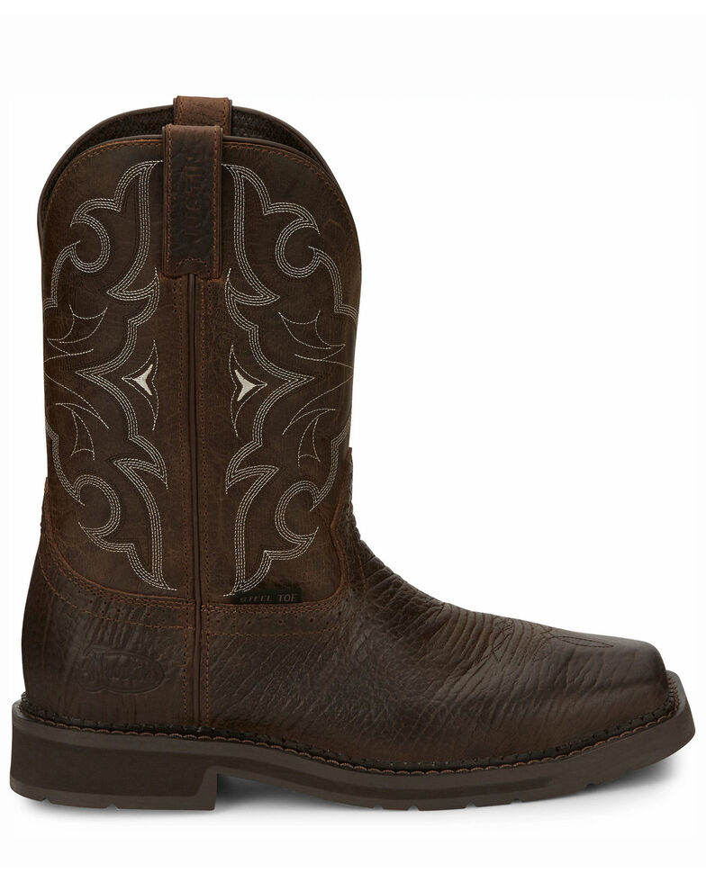 Justin Men's Amarillo Cactus Western Work Boots - Steel Toe, Brown, hi-res