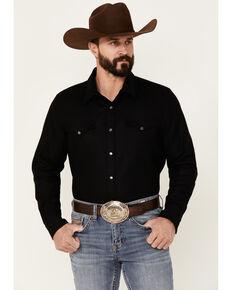 Pendleton Men's Solid Black Canyon Long Sleeve Snap Western Flannel Shirt - Tall , Black, hi-res