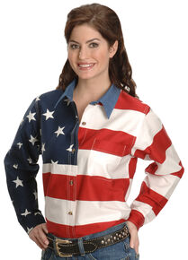 Roper Women's Long Sleeve American Flag Shirt - Plus, White, hi-res