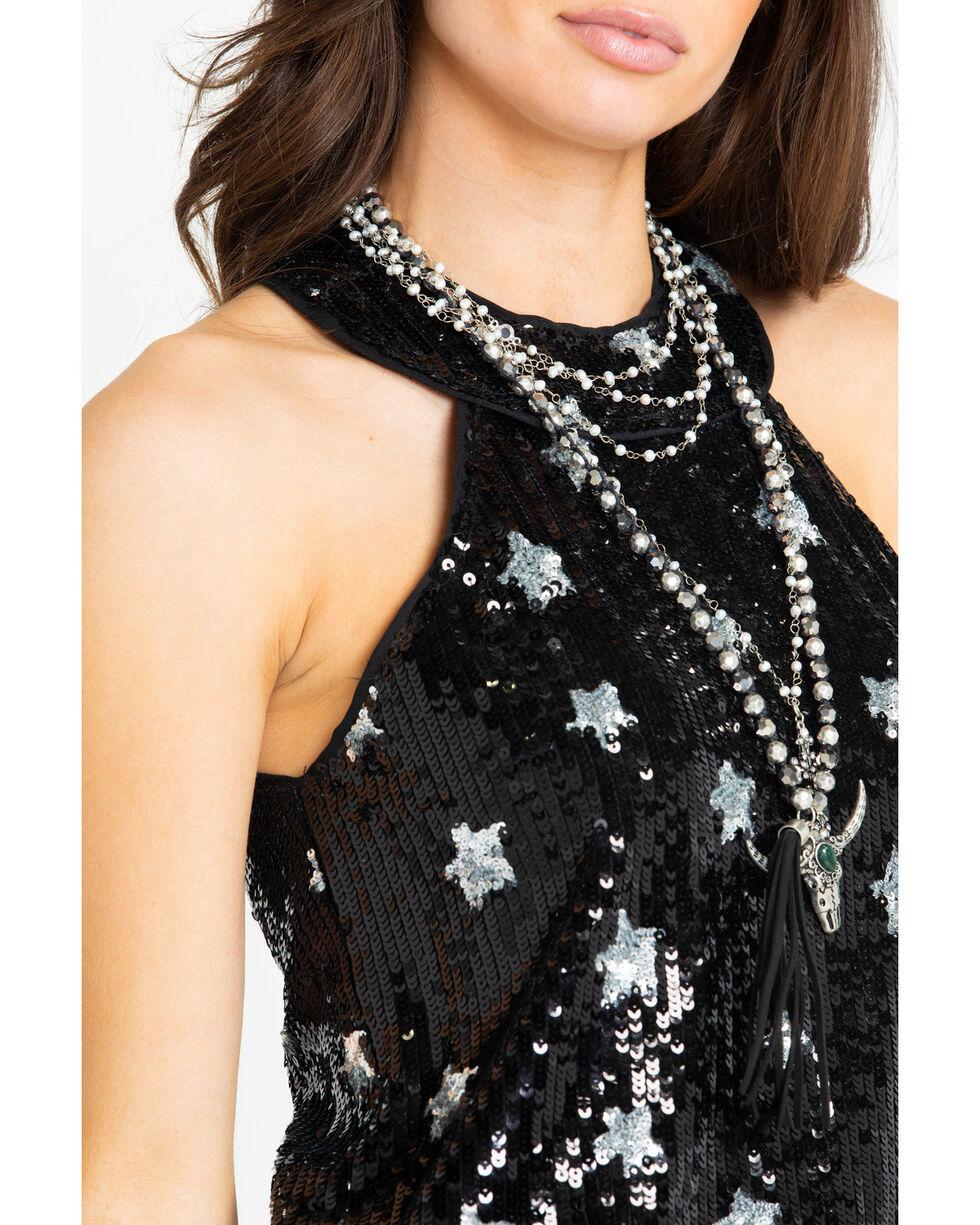 Dance & Marvel Women's Sequin Star Print Halter Top , Black, hi-res