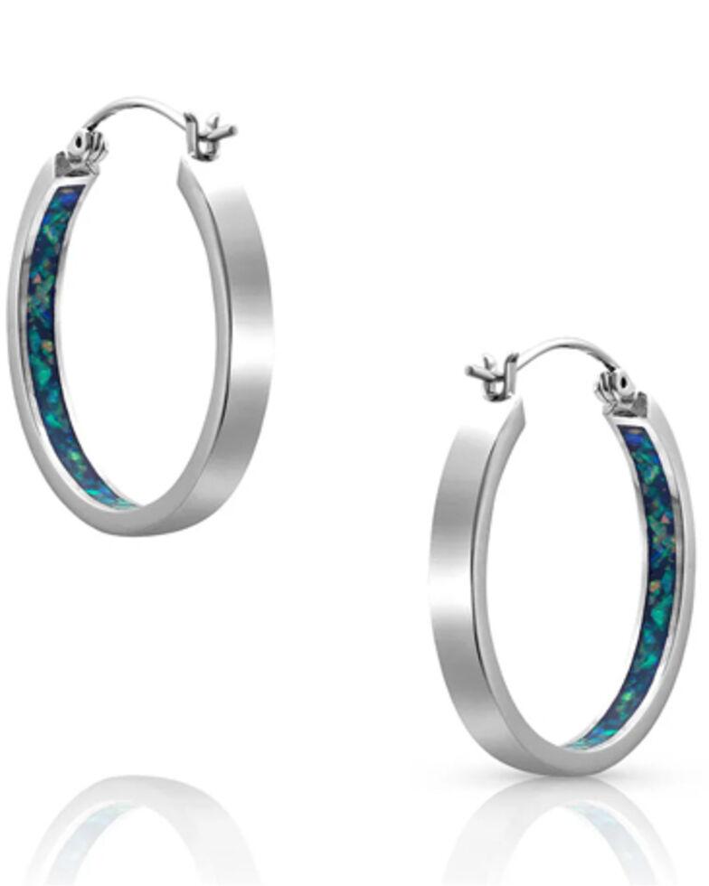 Montana Silversmiths Women's Hidden Depths Opal Hoop Earrings, Silver, hi-res