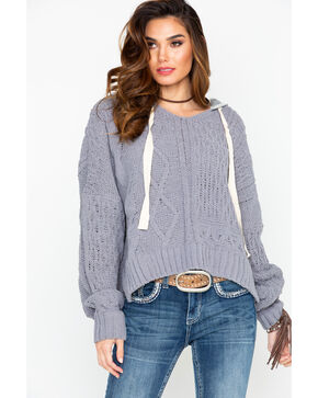 Elan Women's Cable Knit Chanille Pullover Hoodie Sweater, Grey, hi-res