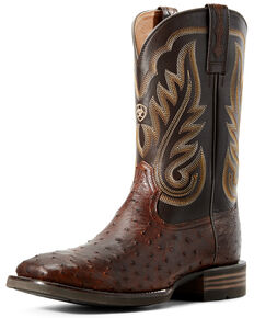 Ariat Men's Promoter Full Quill Ostrich Western Boots - Wide Square Toe, Brown, hi-res